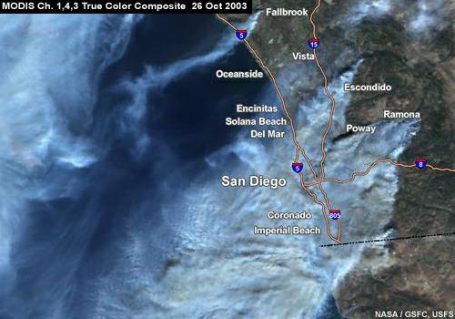 Satellite Photos of Southern California Grass Fire Smoke Plumes