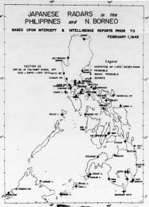 Map of Japanese radars located in the Philippines and Northern Borneo from Section 22 Monthly radar report dated 1 Feb 1945