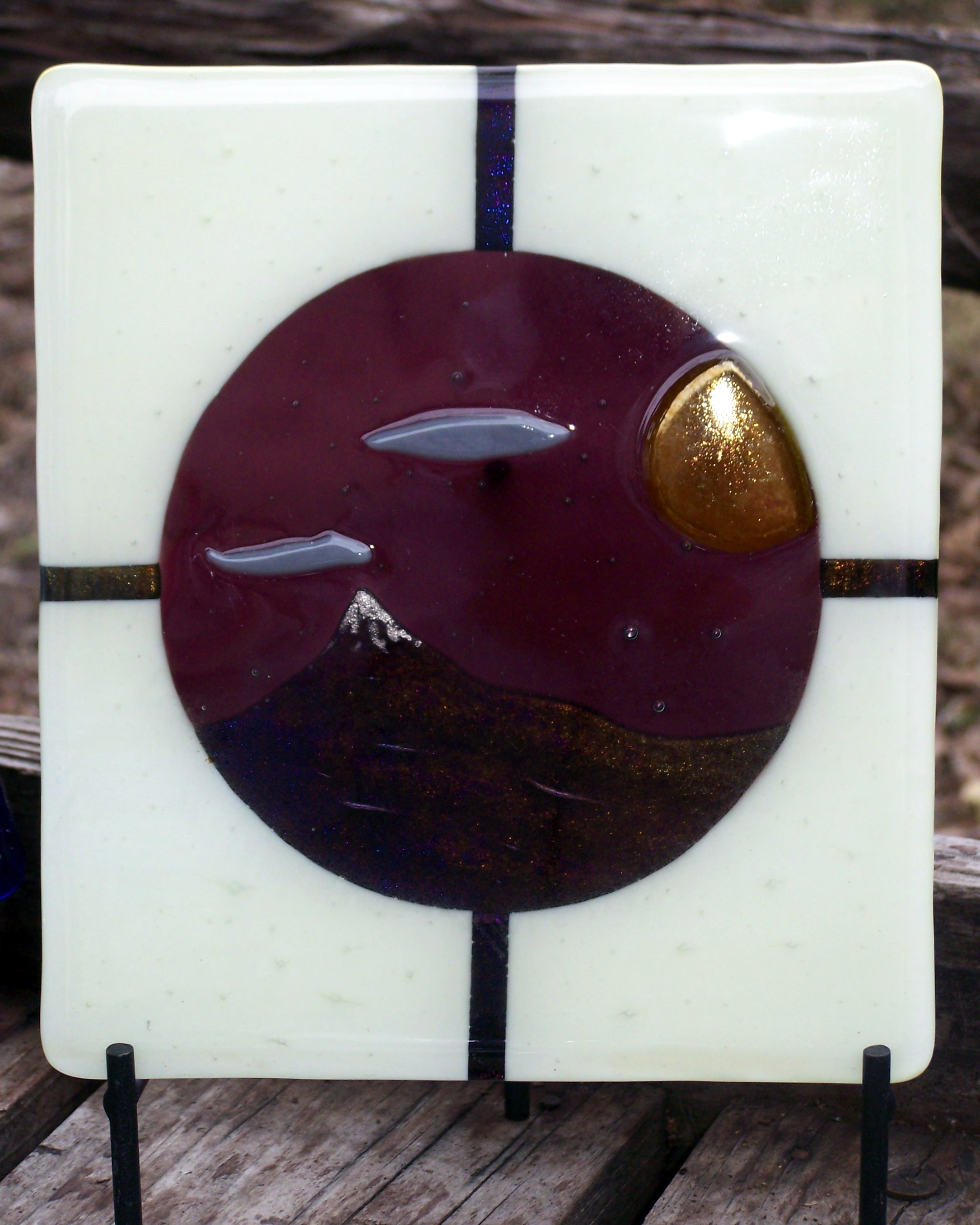 Small Fused glass scenic panel