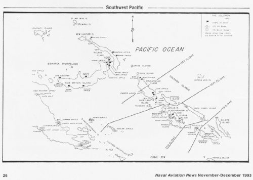 Solomans Campaign Map from a 1993 issue of Naval Aviation News.