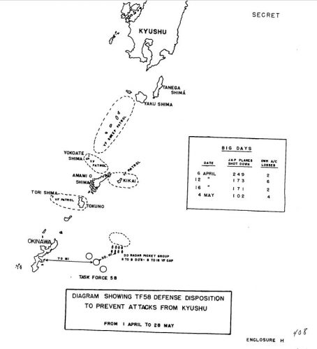 SERIAL 00222 18 JUNE 1945 REPORT OF OPERATIONS OF TASK FORCE FIFTY-EIGHT IN SUPPORT OF LANDINGS AT OKINAWA, 14 MARCH THROUGH 28 MAY (EAST LONGITUDE DATES, INCLUDING ACTIONS AGAINST KYUSHU, NANSEI SHOTO, JAPANESE FLEET AT KURE) THE YAMATO, AND OPERATIONS IN DIRECT SUPPORT OF LANDINGS AT OKINAWA. COMMANDER TASK FORCE FIFTY-EIGHT (COMMANDER FIRST CARRIER TASK FORCE - PACIFIC - VICE ADMIRAL MITSCHER USN)