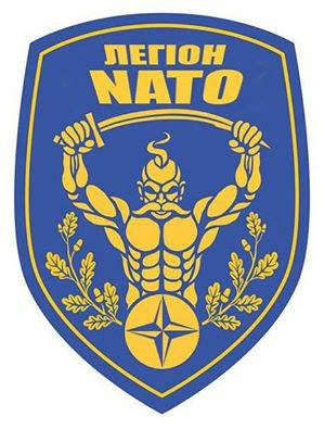 "Ukrainian soldiers ""NATO legion"" badge of honor, note the Viking-Cossack warrior imagery"