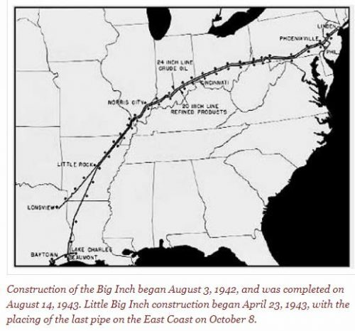 "This is a route map of the WW2 ""Big Inch"" pipelines"