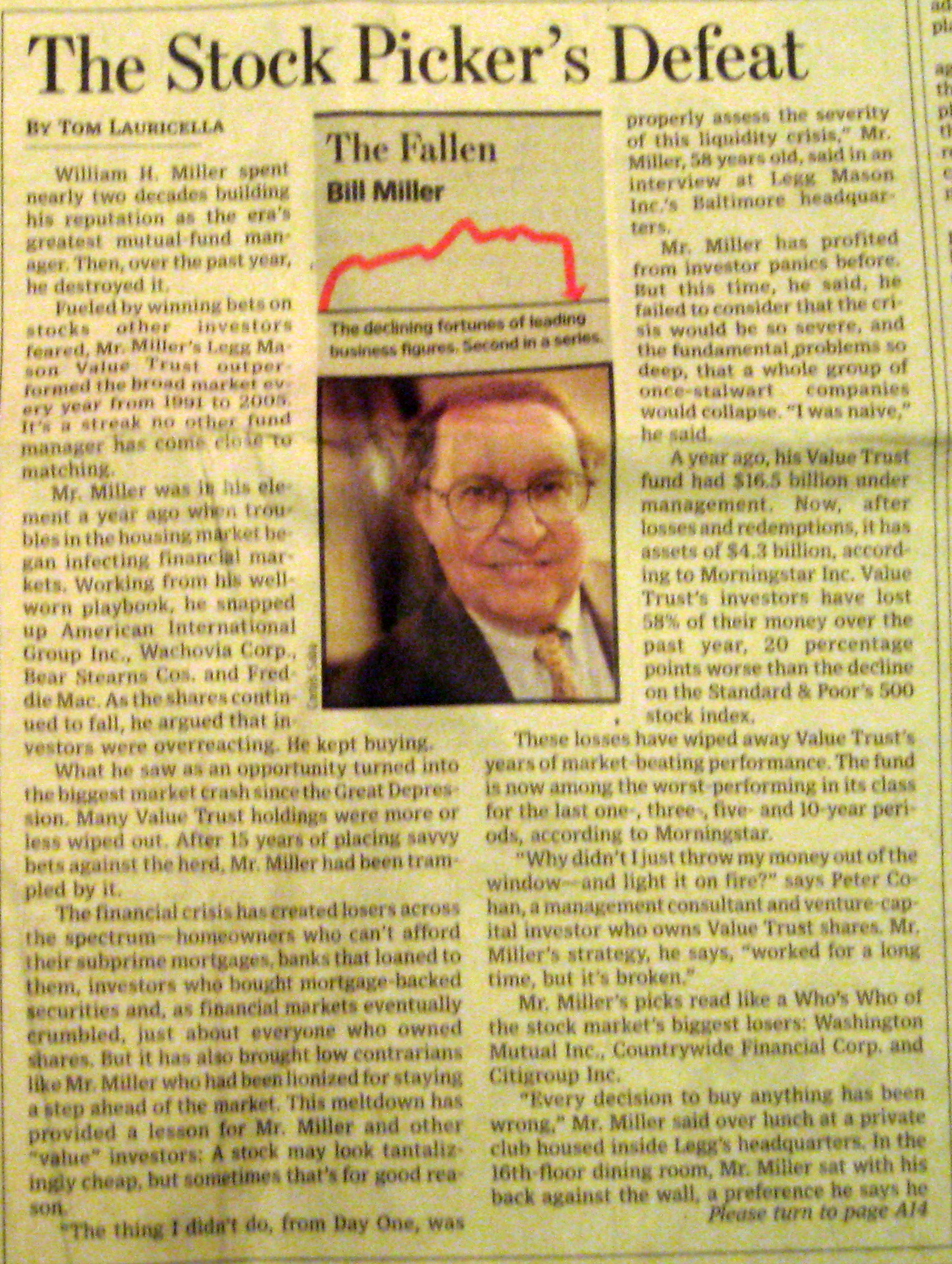 bill miller and value trust The fund, to be run by mr miller and his son, bill miller iv, will seek to  in april  2012, mr miller left the value trust, which currently has about.