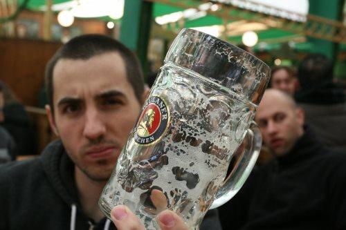 empty beer stein
