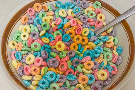 fruit loops with chocolate soy milk