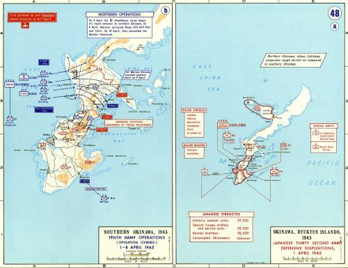 This is the West Point Atlas map of the 1 April 1945 Love Day landings through 8 April 1945.