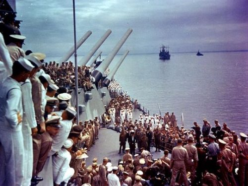 Color Photo of the Sept 2, 1945 Imperial Japanese Surrender ceremony marking the conclusion of WW2 on the Battleship USS Missouri.